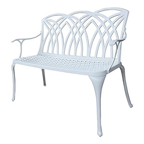Lazy Susan Furniture Banc de jardin en métal–Avril, blanc (sans coussin), Aluminium, Blanc, No cushion