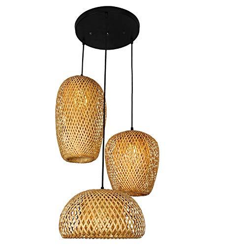 CHEYAL Style Rétro Lampe Lanterne, Abat-Jour en Bambou, Chambre Salon Lustre Plafond Salle À Manger Salle À Manger en Bambou Lampe Bar Café Club Unique Tête Lampe Suspendue, E27,D