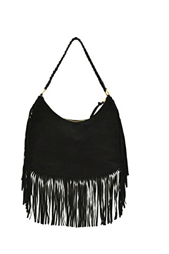 Neon By paint PT2152HO010BLA Women's Hobo with fringes(Black)