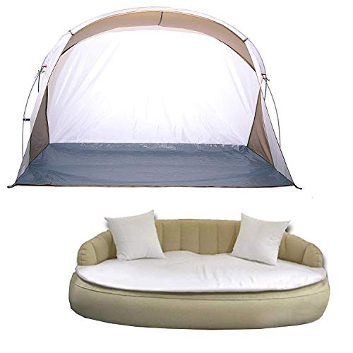 Dekovita Air-Lounge 220x130cm aufblasbare Sonneninsel inkl. Auflage Kissen Sonnendach 2-3 Personen Liege bis 200KG Beige - 6