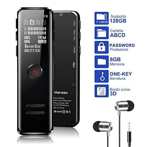 MANSSO Registratore Vocale Digitale, 8GB con Lettore MP3, Registratore Vocale Portatile Microfono...