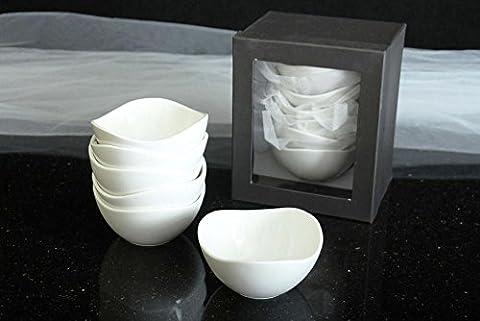 6 Stück Gebäckschalen Porzellen weiss Schälchen Dessert Schalen rund Ø12 cm