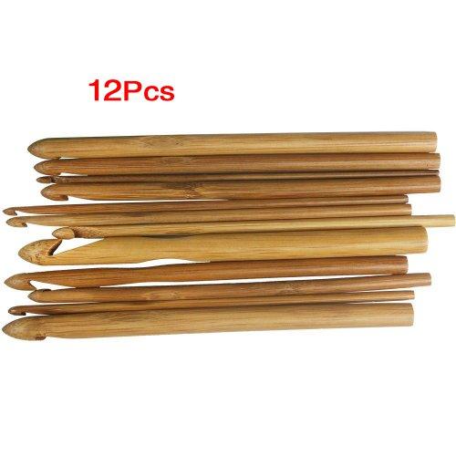 SODIAL(R) 12 Groessen Bambus haekeln Haken Stricken Nadeln 3,0-10mm (Größe Stricken 10 Nadeln)
