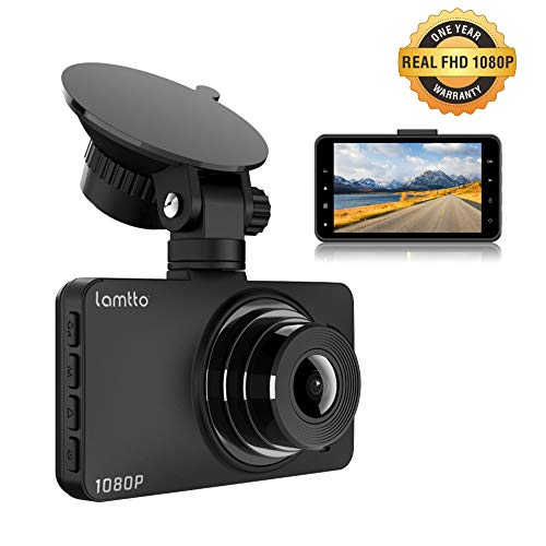 Dash Cam, Dash Cams for Cars, Lamtto Car Camera 1080P Full HD 3' LCD Screen 170°Wide Angle Dashboard Camera G-Sensor, WDR, Parking Monitor, Loop Recording, Motion Detection Car Driving Recorder Camera