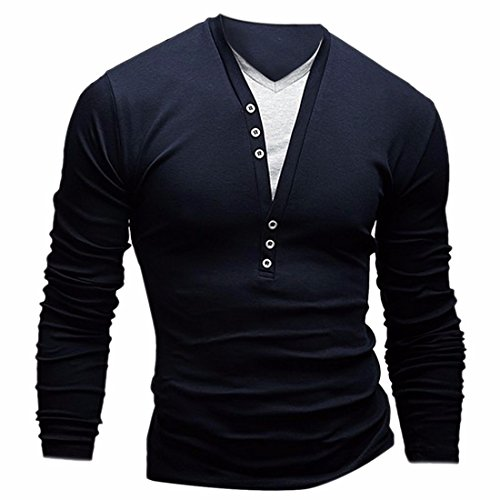 QIYUN.Z La Moda Maschile Misura Sottile Due Parti Di Manica Lunga V Collo T-Shirt In Collo V Marina Militare