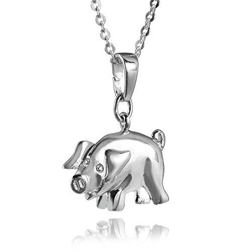 MATERIA Halskette mit Schwein Kettenanhänger Silber 925 rhodiniert - Kinder Glücksbringer + Box #197-30 - Schwein-anhänger-halskette
