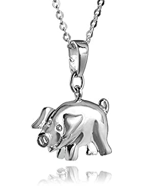 MATERIA Halskette mit Schwein Kettenanhänger Silber 925 rhodiniert - Kinder Glücksbringer + Box #197-30