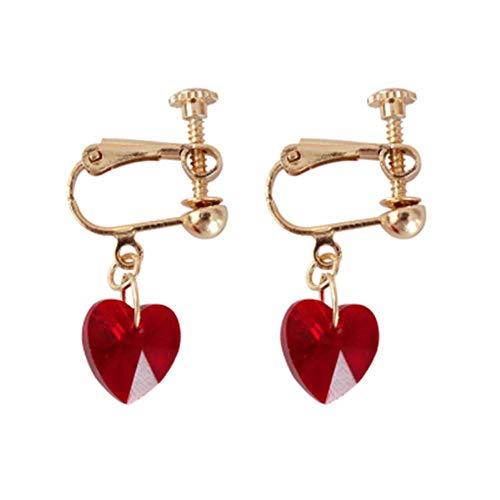 ESCYQ DamenOhrringeOhrsteckerOhrhängerTropfenOhrlinie Vertraglich Mode Ohrclip Ohrclip Weibliche Herzen Rot Glas Pfirsich Herz Anhänger Ohrbügel