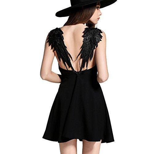 Highdas Sexy ali di angelo Backless mini vestito dal cablaggio del cocktail del partito di sera senza maniche Beach Sundress Nero