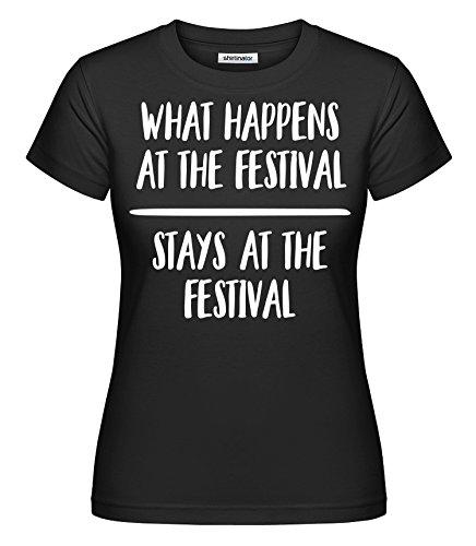 Festival What Happens At The Festival Stays At The Festival | Damen T-Shirt Original von Shirtinator® Schwarz