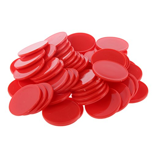 50pcs 40mm Chips Poker Jetons Casino Jeu De Société Pièces de Bricolage Craft - Rouge, XL