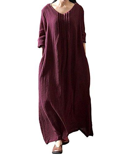 StyleDome Damen Langarm Jhargang Party Cocktail Abend Lang Maxi Kleider Lila-Rot