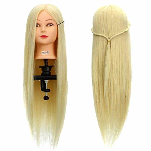 Übungskopf Friseur LuckyFine 26 '' Friseur Übungsköpfe / Frisierkopf mit langen Haaren / synthetische