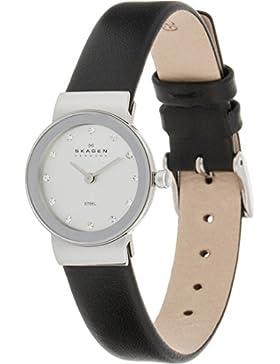 Skagen Damen-Armbanduhr Steel Analog Quarz One Size, silber, schwarz/silber