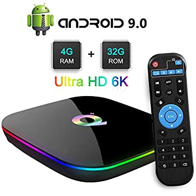TUREWELL Android 9.0 TV BOX, 2019 Newest Android Box 4GB RAM 32GB ROM H6 Quad Core cortex-A53 Processor Smart TV Box, supports 6K Resolution 3D 2.4GHz WiFi Ethernet USB 3.0 Media Player