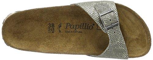 Papillio Madrid Leder, Ciabatte Donna, Argento Grau (Royal Python Gray)