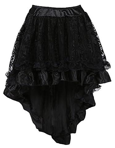 TDOLAH Damen Steampunk Gothic Kostüm Vintage Lang Chiffon Rock (XXL (EU 40-42), schwarz)