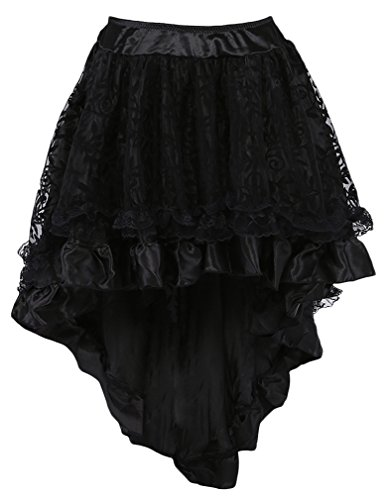 TDOLAH Women's Gothic Dress Steampunk Costume Lace Asymmetrical High Low Corset Party Skirt Plus Size (UK Size 14-16 (Tag 2XL), Black) steampunk buy now online