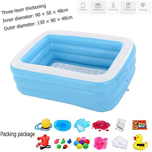 A~LICE&YGG Kinderaufblasbarer Swimmingpool, doppeltes großes erwachsenes aufblasbares Pool-PVC verdicken quadratisches Baby-Planschbecken-tragbare aufblasbare Badewanne im Freien,130cm