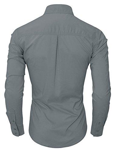 Style simple hRYfashion chemise pour homme coupe slim moulante - 05-Grau