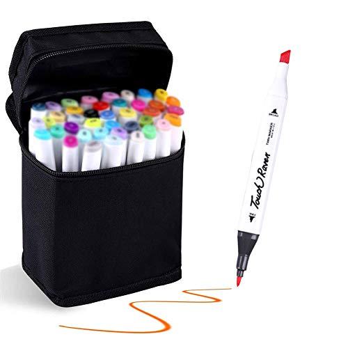 Hbwz 40 Farben Dual Tips Permanent Marker Pens Art Marker für Kinder mit Tragetasche zum Zeichnen Skizzieren Adult Coloring Hervorheben und Unterstreichen,Animeversion - Flipchart-tragetasche