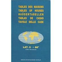 Tables des maisons : Placidus lat. 0 °- 66  °