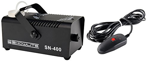 Showlite SN-400 Nebelmaschine 400W mit Fernbedienung (Nur 3 Minuten Aufwärmzeit, 56m³/min Nebelausstoß, 3,5m Sprühdistanz) schwarz