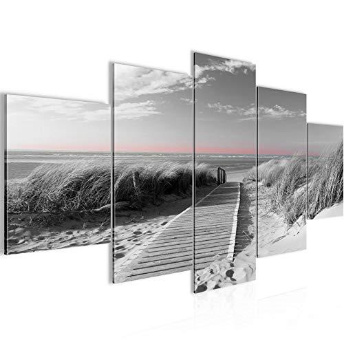 Bilder Strand Meer Wandbild 200 x 100 cm Vlies - Leinwand Bild XXL Format Wandbilder Wohnzimmer Wohnung Deko Kunstdrucke Rosa Grau 5 Teilig - Made IN Germany - Fertig zum Aufhängen 604051c