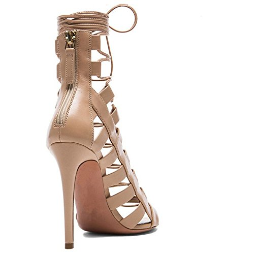 COOLCEPT Femmes Rome Orteil Ouvert Sandales Aiguille Lacets creux Light Brown