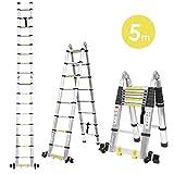 FIXKIT 5M Alu Teleskopleiter Klappleiter ausziehbare Leiter Teleskop-Design 150 kg Belastbarkeit mit 2 Rollen