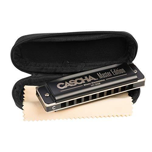 CASCHA Master Edition Blues Harmonica, hochwertige Mundharmonika in C-Dur mit Soft Case und Pflegetuch, Blues Organ (Band Mundharmonika Blues)
