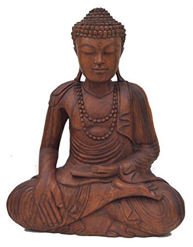 Buda sentado Figura 50cm de madera maciza en Asia Style