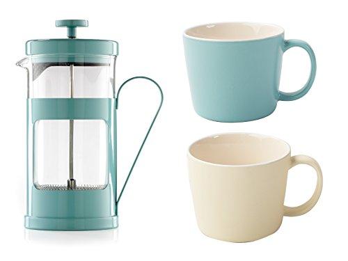 LA CAFETIÈRE Geschenkset mit Kaffee-Thema, Retro-Stil, Edelstahl, Blau, 7.5 x 14.1 x 8.1 cm