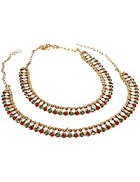 Bollywood Gold Plated Multi Stone Made Payal Anklet Pair Set For Women Wedding & Party Wear Jewelry