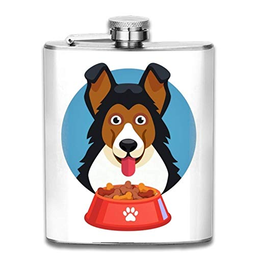 Cute Flask For Women-Dog Pet Face With Red Bowl Full Of Food Flasks for Liquor for Women - Pretty, Discrete and Cool Stainless Steel Flask Purse pouring Cap for Alcohol -Perfect Bachelorette Gift -