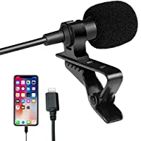 Mini Lavalier with clip on Microphone for iPhone 7/8/X/XS/XR/11 and iPad/iPod by iZEN Lapel Omnidirectional Condenser Mini Lavalier Microphone with Clip On for Recording on iPhone or iOS devices