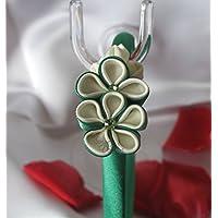 Cerchietto con fiori kanzashi verdi e bianchi