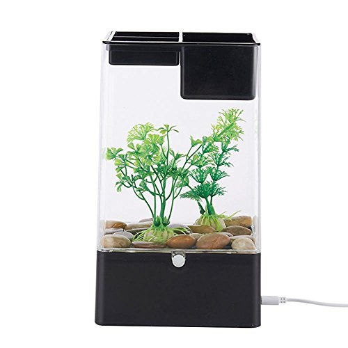 KOBWA Aquarium, Faule Person Desktop Aquarium Mini Selbstreinigende Grass Fisch Tank Starter Kits mit LED Bunte Beleuchtung Cube Shaped Aquarium Starter Kit mit Sockel Basis -