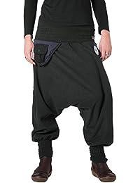 Vishes – Alternative Bekleidung – Warme Thermo Haremshose aus Fleece mit Tasche und weichem Jersey Bund