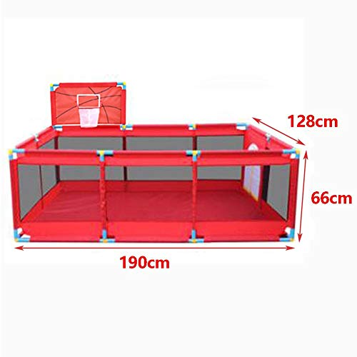 Playpens Extra Large Baby Play Yard with Basketball Hoop, Toddler/Kid's Portable Playard Children's Game Fence, Red  HWF Shop