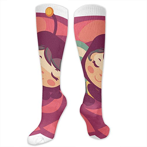 HVCMNVB Stretch Socks Honey Bee Sleeping Soccer Socks with Soccer Balls Over The Calf Special for Running,Athletic,Travel