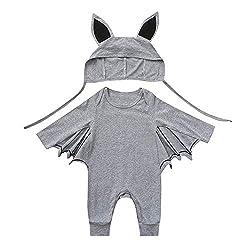 Yanhoo Kleinkind Neugeborenes Baby Jungen Mädchen Halloween Cosplay Kostüm Fledermaus Ärmel Strampler Hut Outfits Set