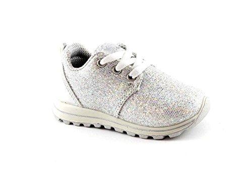 PRIMIGI 75328 grau Mädchenschuhe Schnürsenkel Silber Sneaker Pailletten Bianco