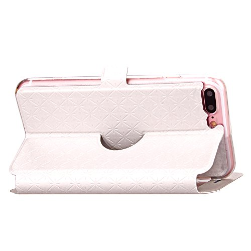 Ledertasche Flip Leather View Cover für Apple iPhone 7 Plus Hülle - Yihya Window View Folio Schutzhülle Slim Bookstyle Case mit Ständer Halter - Blau (Blue) Weiß