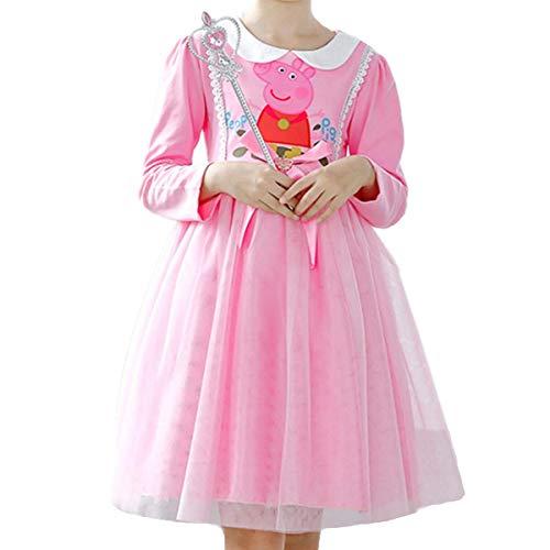 Mädchen Kostüm Prinzessin Kleid Kostüme Eiskönigin Prinzessin Kostüm Kinder Kleid Mädchen Weihnachten Verkleidung Karneval Party Halloween Fest Pig Peggy Print - Langärmliges Netzkleid mit Prinzessin