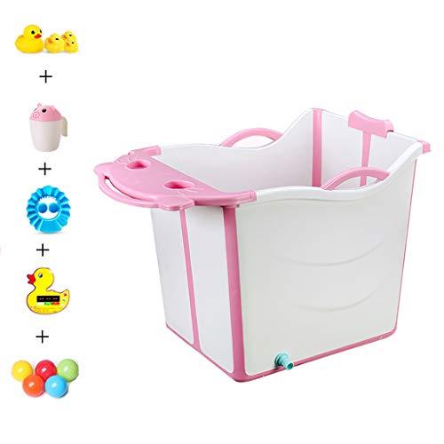 XUEPING Kinderbadewanne, Tragbare Faltende Wanne Des Haushalts, Starker Plastik Kann Baby Mit Spielzeugwanne L56 * W40 * H55cm 2 Farben Sitzen Und Legen (Farbe : Pink)