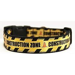 Construction Zone Collar Perro Hecho a Mano Talla M con Correa Multiposicion a juego Dog Collar HandMade