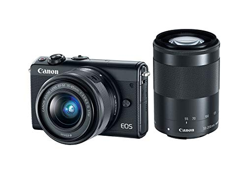 Canon EOS M100 with EF-M 15-45 is STM and EF-M 55-200 is STM Lens Kit (Black)