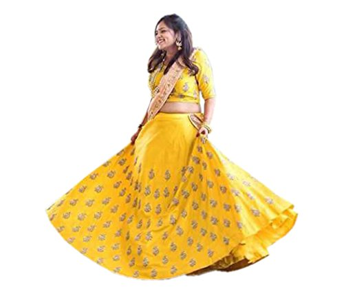 shivam Embroidery women's yellow Silk free size lehenga cholis (yellow butti_yellow_freesize)