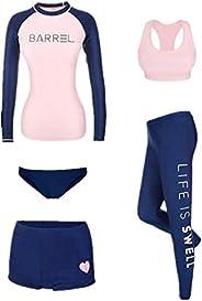 5pcs Women's Swimsuit Set Elasticity Durable Bathing Suits Beach